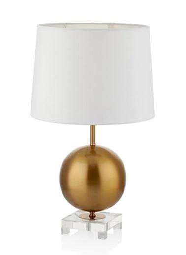 Cemile Altın Büyük Küreli Beyaz Şapkalı Abajur 63 Cm Altın